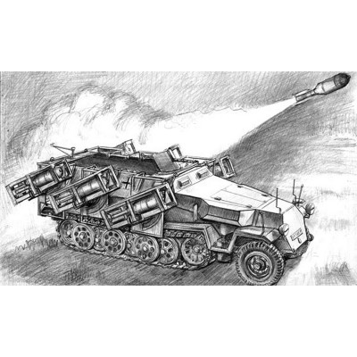 Maquette véhicule militaire : Sd.Kfz.251/1 Ausf.B Stuka Zu F. - Zvezda-3625