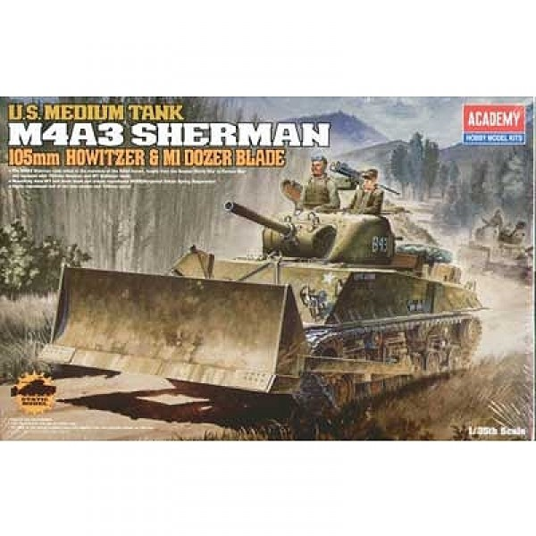 Maquette Char : M4A3 105mm Sherman - Academy-13207