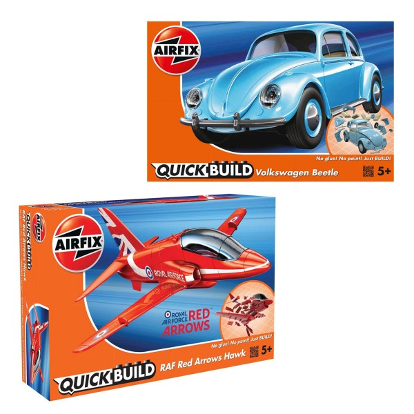 Pack Maquettes Airfix Quickbuild : VW Beetle et RAF Red Arrows Hawk - KIT00142