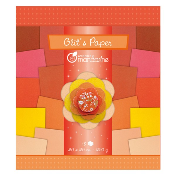 Set de papiers Glit's Paper : 18 feuilles Rouge/Orange - 52682O