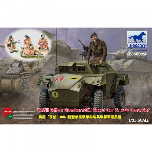 Maquette Véhicule Militaire : WWII British Humber MK.I Scout Car & AFV Crew Set - Bronco-BRM35009SP
