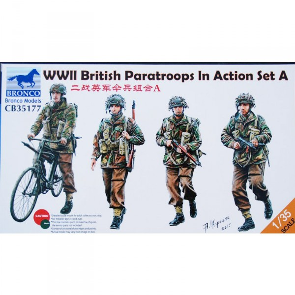 Maquette accessoire : WWII British paratroops In Action Set A - Bronco-BRM35177