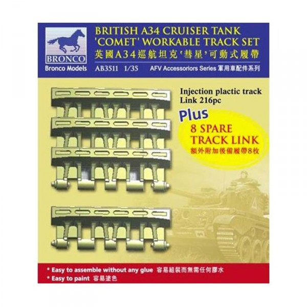 Maquette accessoire : British A34 Cruise tank'Comet'Workable Track Set - Bronco-BRMAB3511