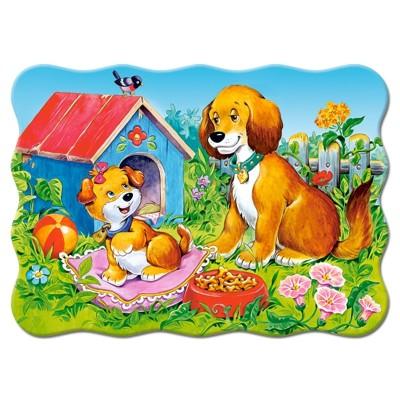 puzzle 30 pi ces chiens dans le jardin jeux et jouets castorland avenue des jeux. Black Bedroom Furniture Sets. Home Design Ideas