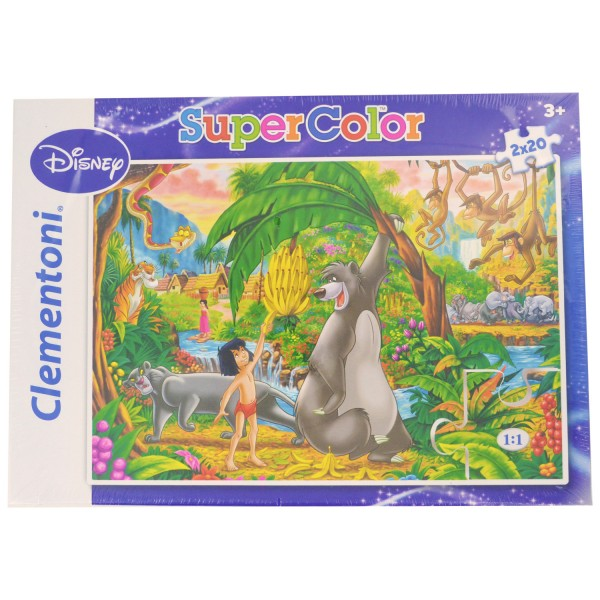 Puzzle 2 x 20 pièces : Super Color : Le livre de la jungle & Peter Pan - Clementoni-24604-24613-11