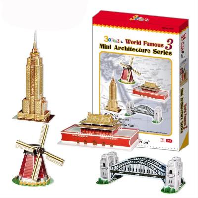 puzzle 3d 100 pi ces les plus beaux monuments du monde s rie 3 puzzle cubicfun rue des puzzles. Black Bedroom Furniture Sets. Home Design Ideas