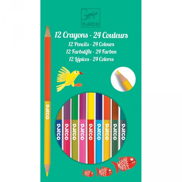 12 crayons doubles 24 couleurs - Djeco-DJ09758