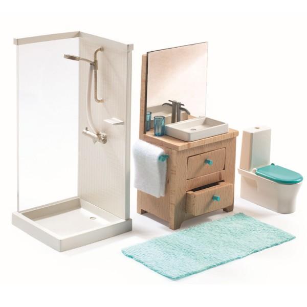 Accessoire maison de poup es la salle de bain jeux et for Accessoire salle de bain douche