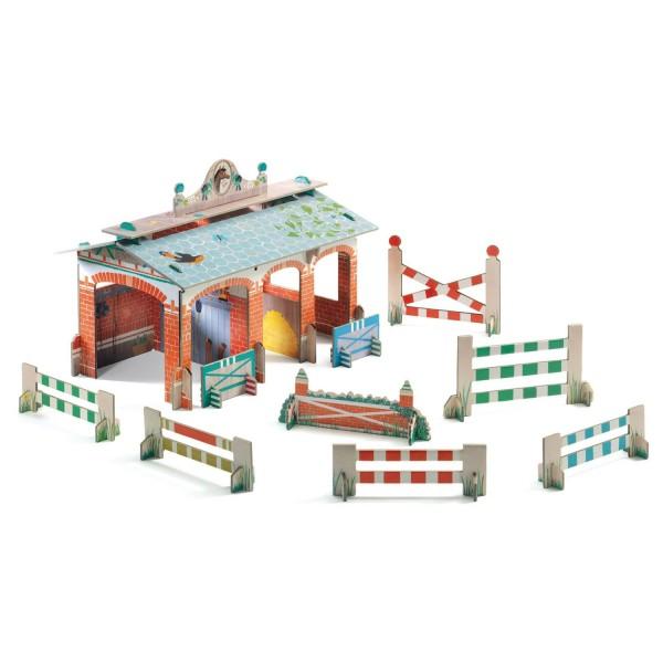 construction en carton 3d pop 39 n play centre questre jeux et jouets djeco avenue des jeux. Black Bedroom Furniture Sets. Home Design Ideas