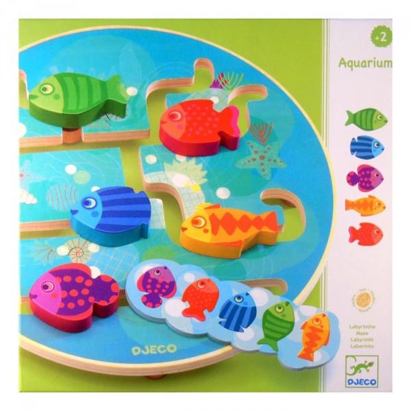 Jeu ducatif bois aquarium jeux et jouets djeco for Jouet aquarium poisson
