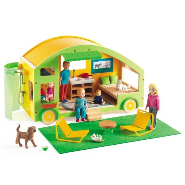 maison de poup es caravane house jeux et jouets djeco avenue des jeux. Black Bedroom Furniture Sets. Home Design Ideas