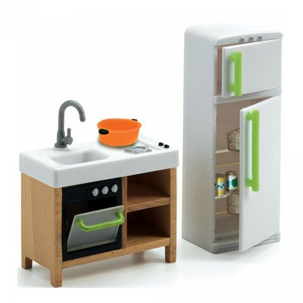 mobilier pour maison de poup es cuisine compacte jeux et jouets djeco avenue des jeux. Black Bedroom Furniture Sets. Home Design Ideas
