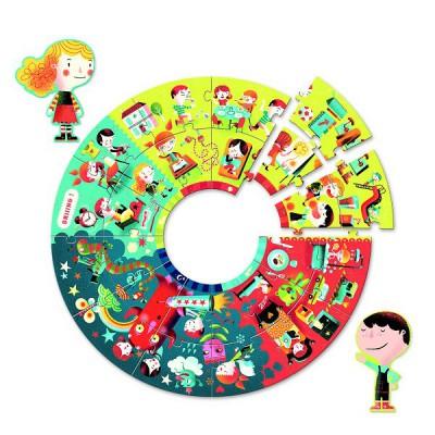 Puzzle 24 pièces géant circulaire - Au fil de la journée - Djeco-07002