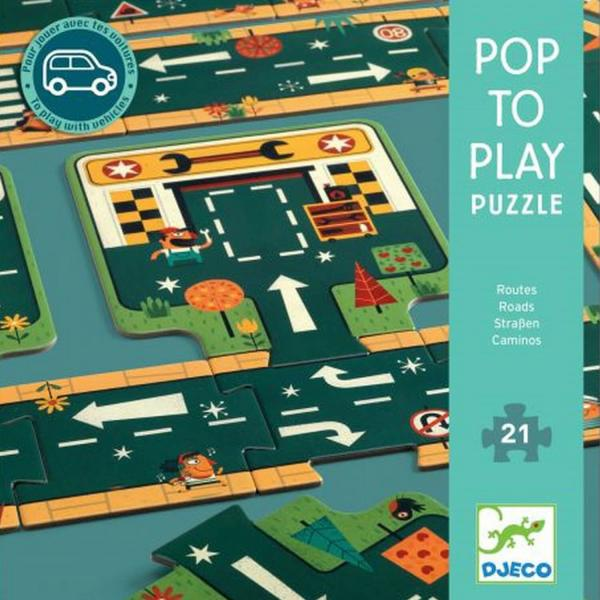 Puzzle 21 pièces : Pop to play : Routes - Djeco-DJ07162