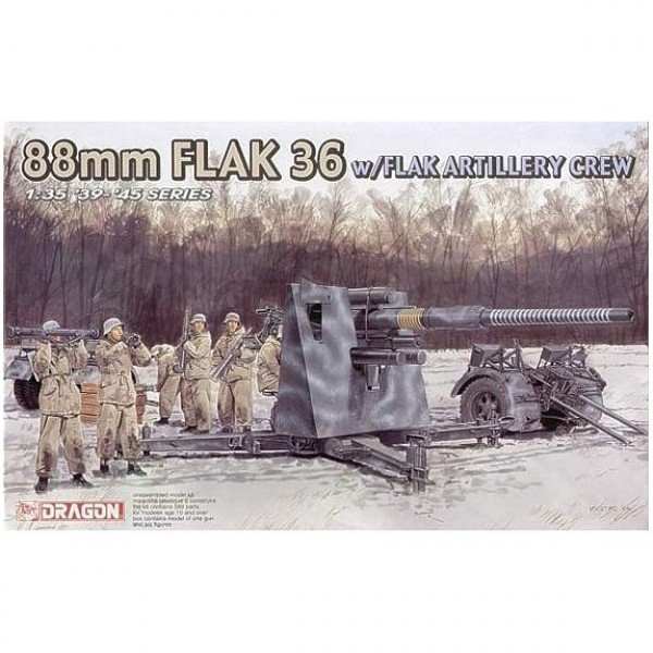 Maquette Canon FlaK 36 88mm avec figurines - Dragon-6260