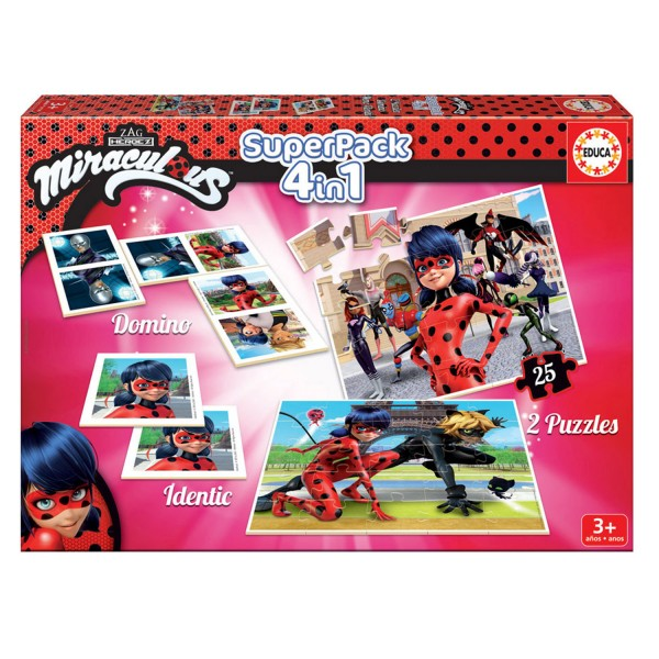 Superpack Miraculous Ladybug :  Memory, puzzles et dominos - Educa-17259
