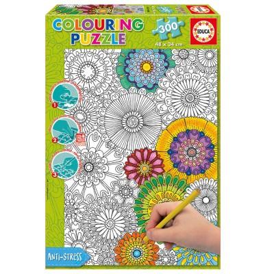 Puzzle 300 pi ces colorier tr s jolies fleurs jeux for Puzzle a colorier