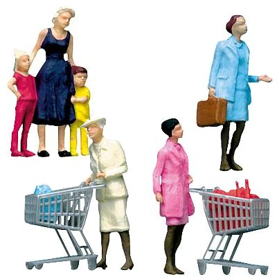 Modélisme HO : Figurines : Set clients au supermarché - Faller-151035