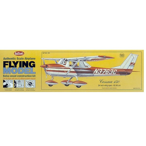 Maquette avion en bois : Cessna 150 - Guillows-0280309