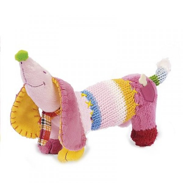 Peluche - Chien Dinkey rose : 20 cm - Happy-Horse-15701
