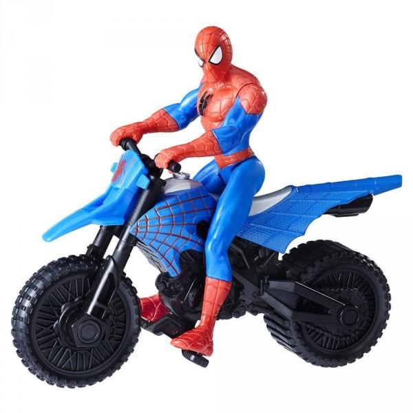 figurine spiderman 15 cm avec vhicule spider man avec moto supercross hasbro