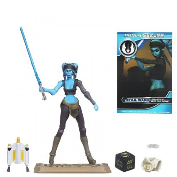 Star Wars - Figurine Clone Wars et carte à collectionner : Aayla Secura - Hasbro-37290-38418