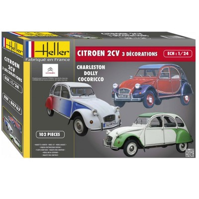 maquette voiture citro n 2 cv avec 3 d corations heller rue des maquettes. Black Bedroom Furniture Sets. Home Design Ideas