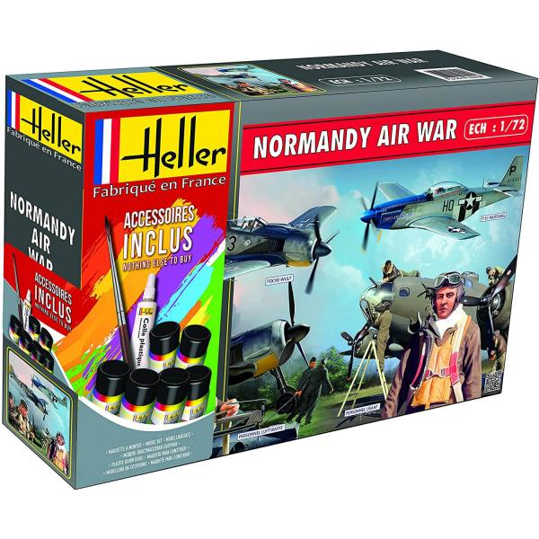 Maquettes avion : Normandie Air War : Mustang, Focke Wulf et figurines - Heller-53014
