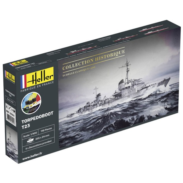 Maquette bateau : Collection historique : Starter Kit : Torpedoboot T23 - Heller-57011