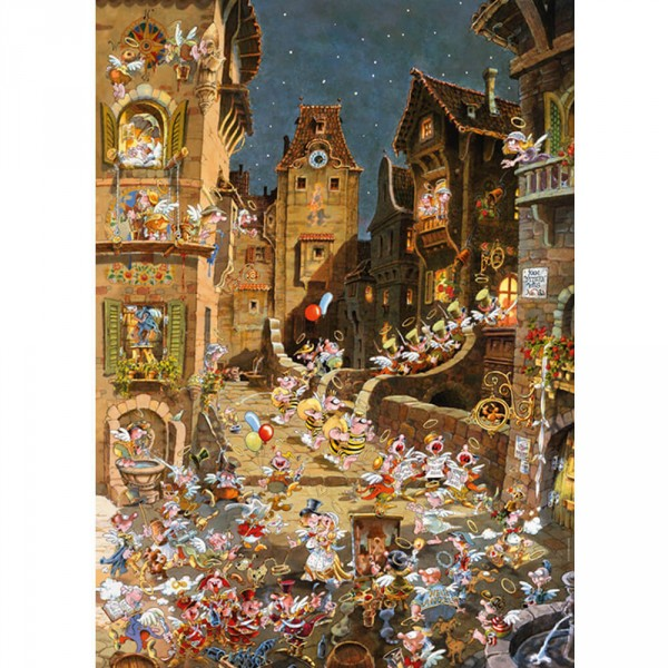 Puzzle 1000 pièces : Romantic Town : By Night, Michael Ryba - Heye-58204-29875