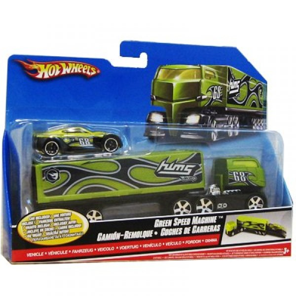 Camion Hot Wheels et sa voiture : Green Speed Machine - Mattel-C0628-N3982