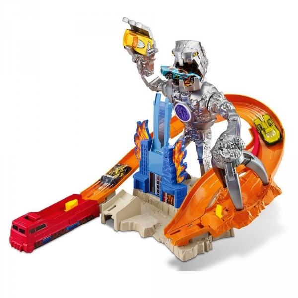 Circuit de voitures Hot Wheels : Piste robot attaque - Mattel-CDR06