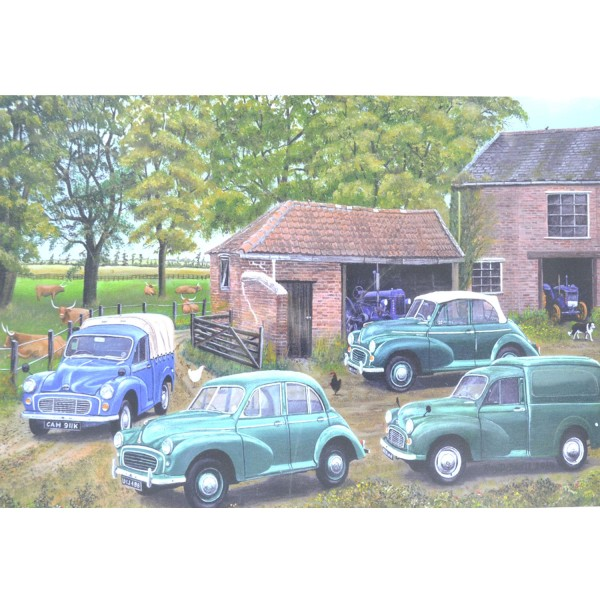 Puzzle 500 pièces Birtish Classic Cars : Voitures de collection Mighty Morris Minors - Hamilton-BCC500