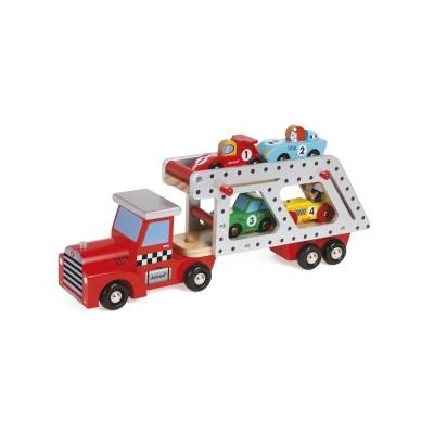 camion transporteur 4 voitures story racing jeux et jouets janod avenue des jeux. Black Bedroom Furniture Sets. Home Design Ideas