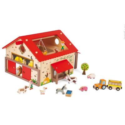 ferme en bois happy farm janod le lutin rouge. Black Bedroom Furniture Sets. Home Design Ideas