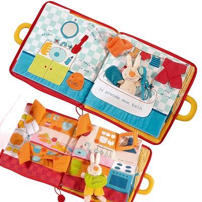 livre en tissu bonsoir petit lapin jeux et jouets lilliputiens avenue des jeux. Black Bedroom Furniture Sets. Home Design Ideas