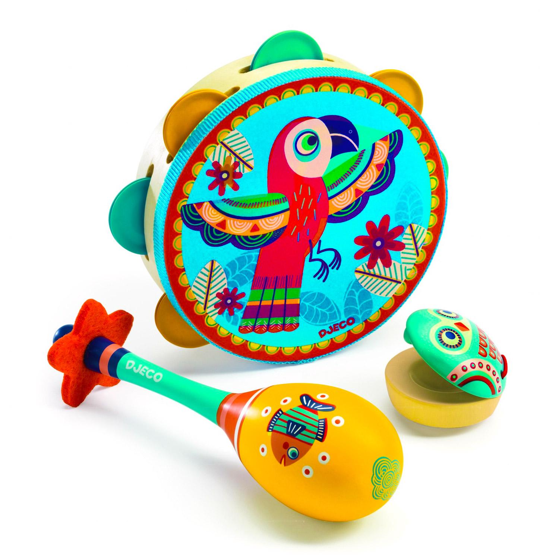 Set de tambourin/castagnette/maracas Animambo