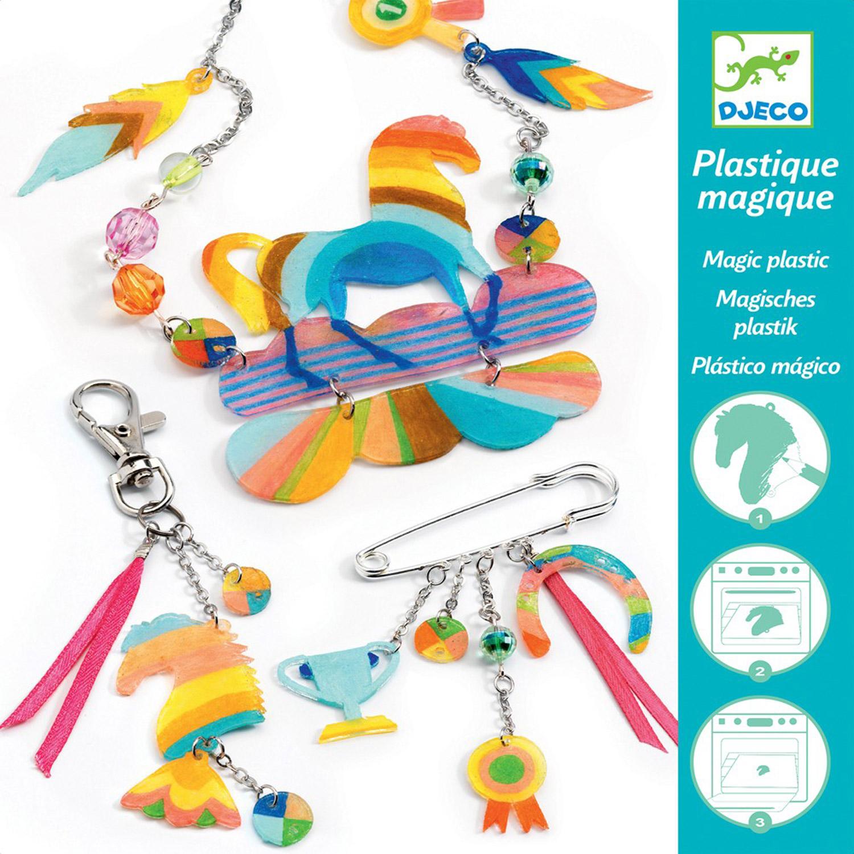 Set créatif bijoux en plastique magique : Cheval arc-en-ciel