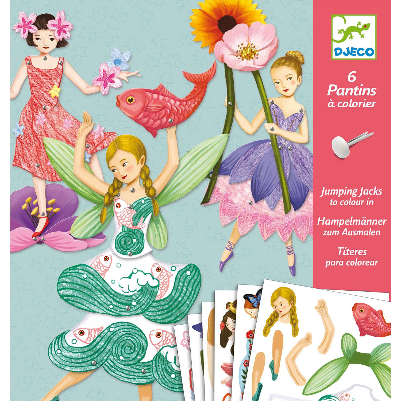 Set créatif pantins à colorier : Fées