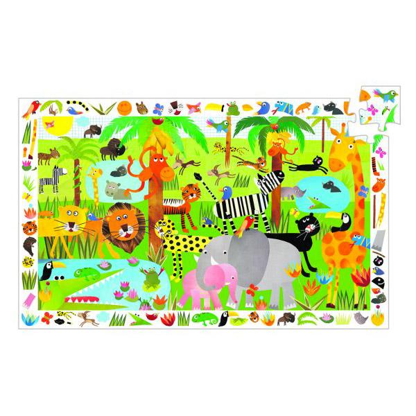 Puzzle 35 pièces - Poster et jeu d'observation : La jungle