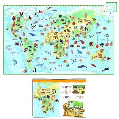 Puzzle 100 pièces - Poster et livret : Les animaux du monde