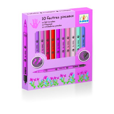 Crayons 10 Feutres pinceaux Rose