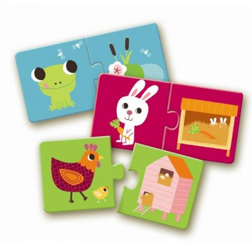 Puzzle 10 x 2 pièces - Duo : Animaux - Habitat