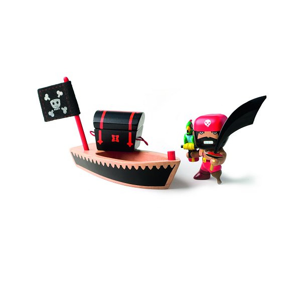 Figurine Arty Toys - Les pirates : El Loco et son embarcation