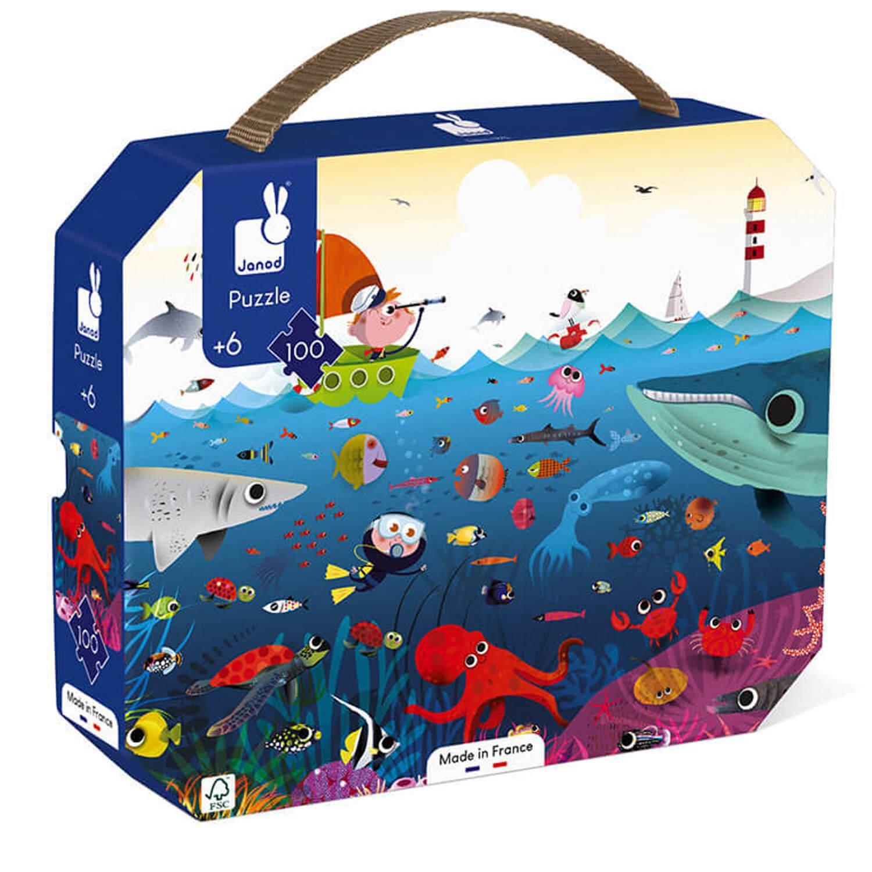 Puzzle 100 pièces : Valisette : Le monde sous-marin