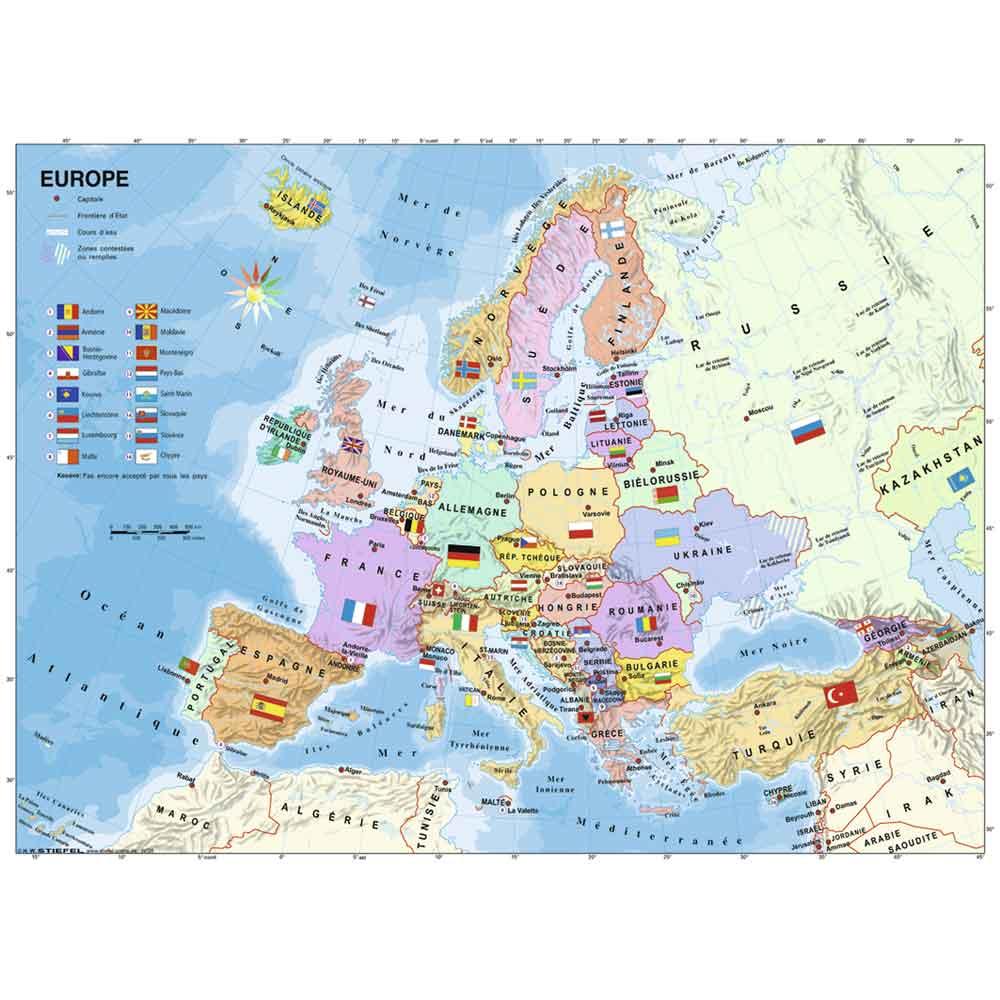 Puzzle 200 pièces XXL : Carte d'Europe