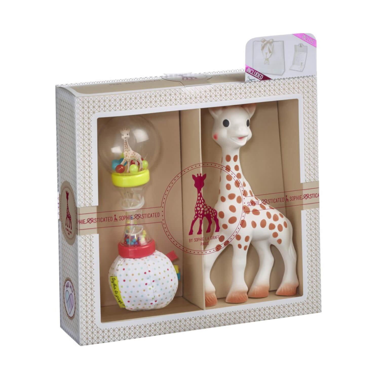 Coffret de naissance SophieSticated Classique : Sophie la girafe, hochet soft maracas