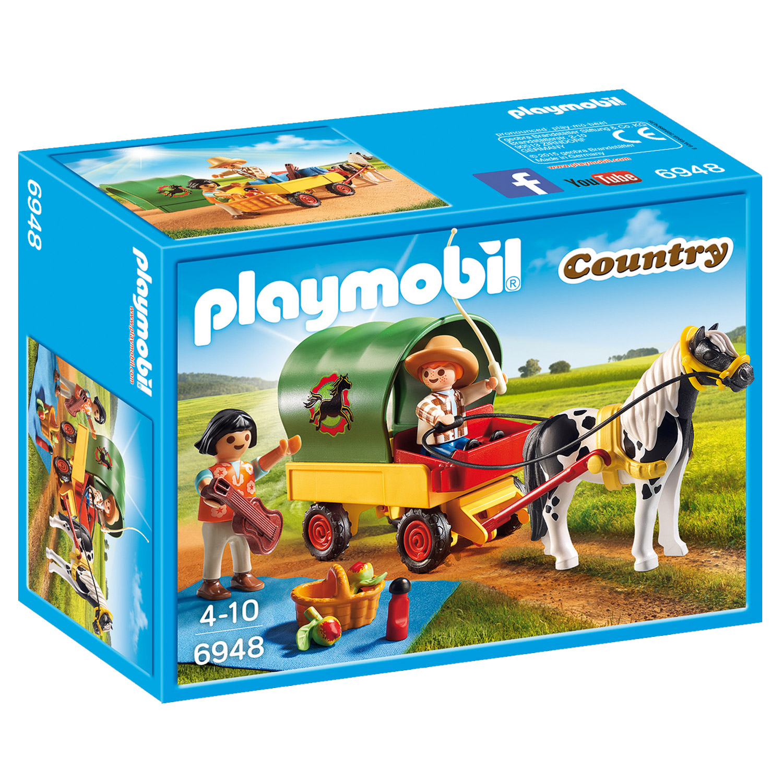 Playmobil 6948 Courntry : Enfants avec chariot et poney