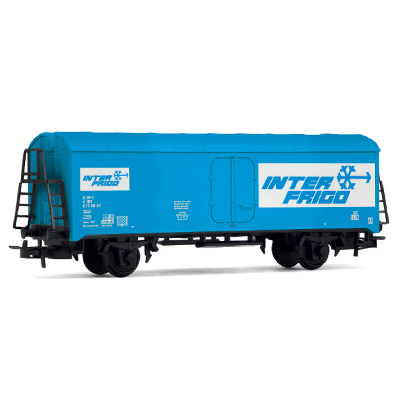 Véhicule pour circuit de train : Wagon réfrigéré Interfrigo, livrée bleue
