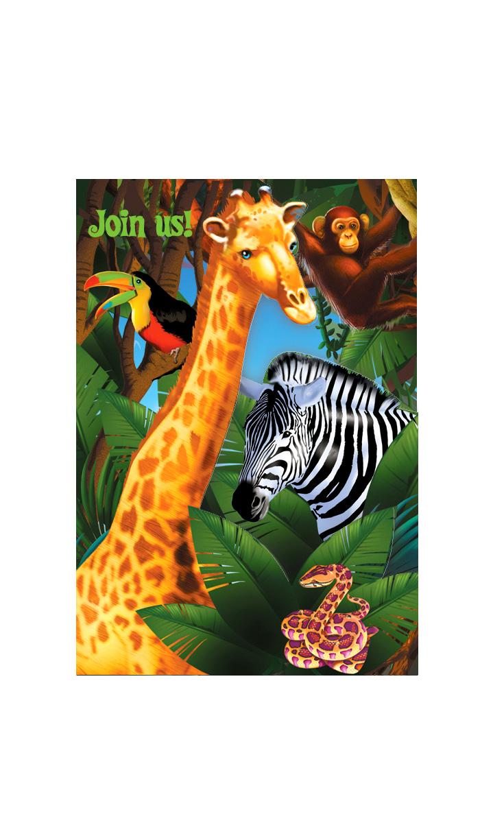 8 Invitations Anniversaire Safari Party